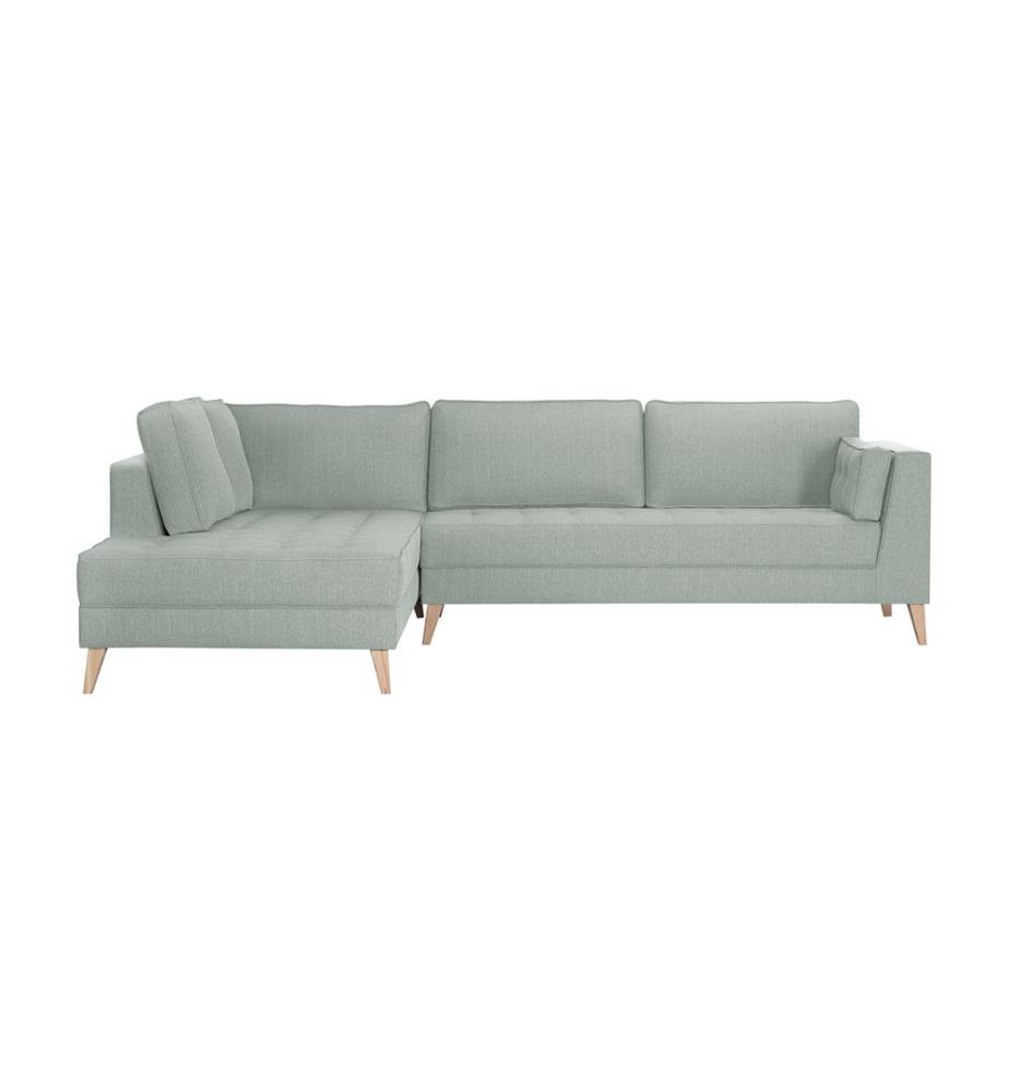 canap d angle gauche atala a vert d eau et brun clair dealmix. Black Bedroom Furniture Sets. Home Design Ideas