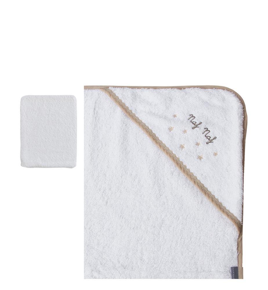 linge de bain gant de toilette stars blanc et beige. Black Bedroom Furniture Sets. Home Design Ideas