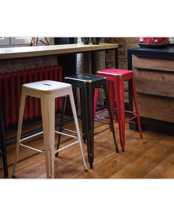 tabouret de bar cabrillo 60 cm blanc et dor dealmix. Black Bedroom Furniture Sets. Home Design Ideas