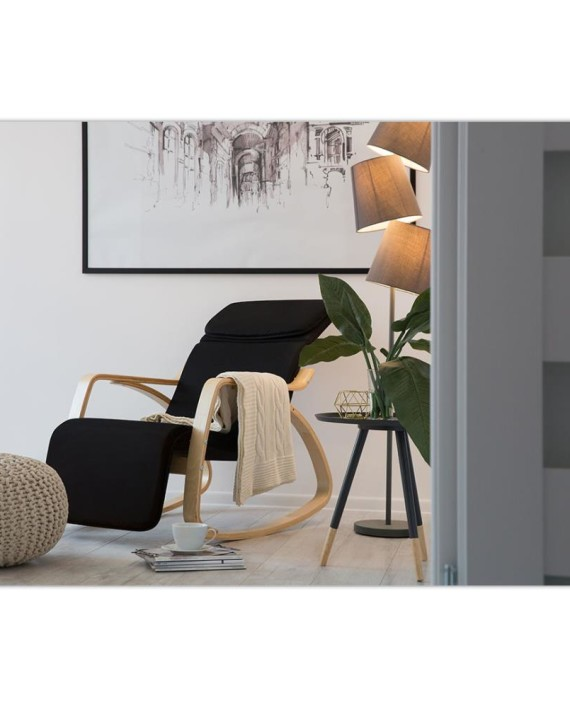 Chaise bascule weston noir et brun clair dealmix - Chaise a bascule adulte ...