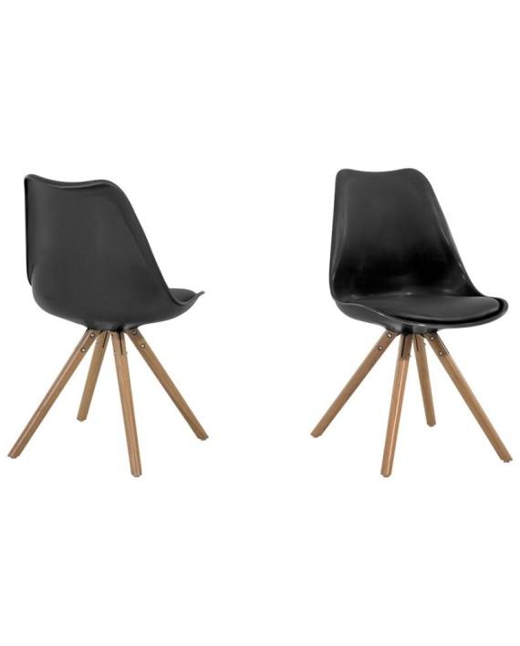 Chaise design en plastique dakota noir et brun dealmix for Chaise plastique noir