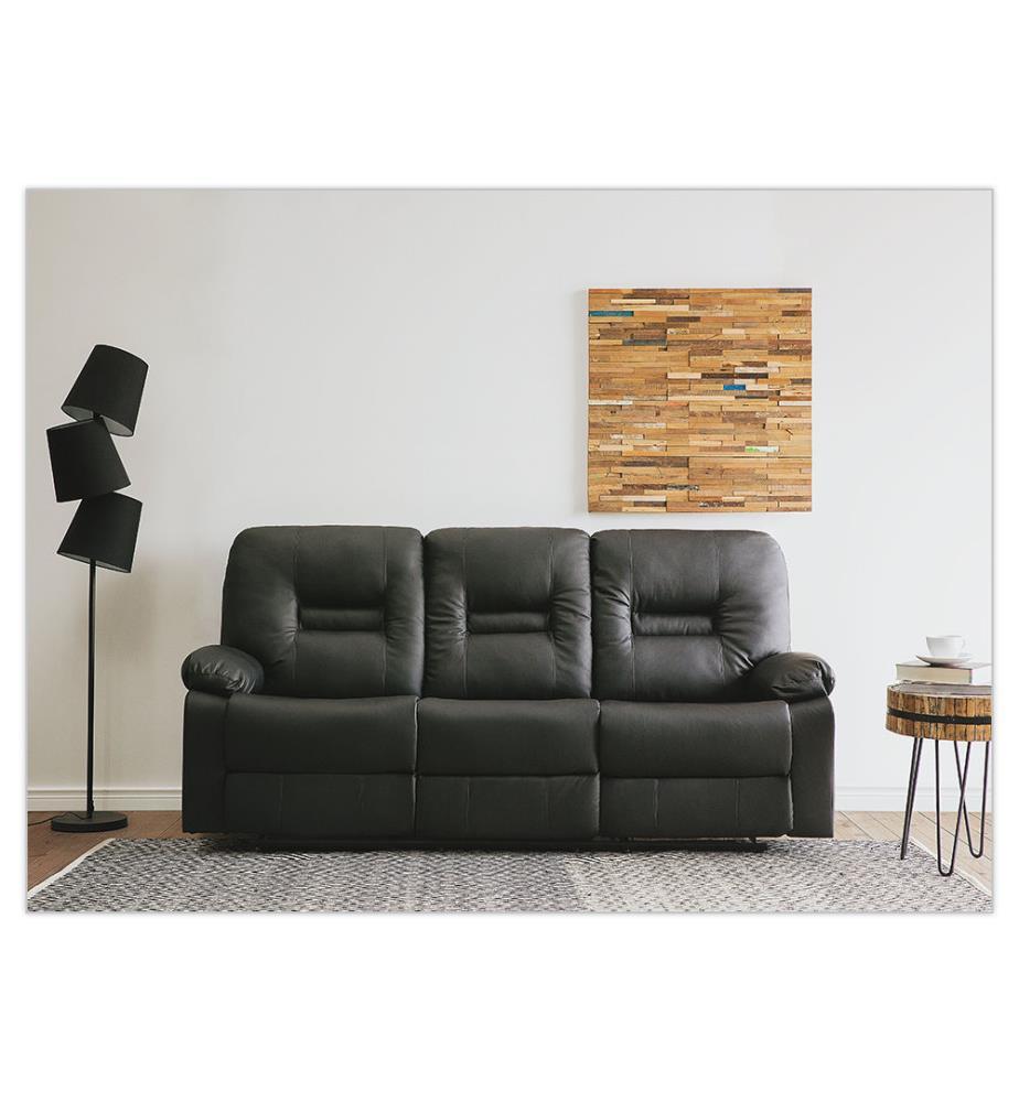 canap en cuir 3 places bergen noir dealmix. Black Bedroom Furniture Sets. Home Design Ideas