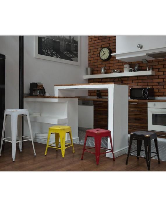tabouret de bar cabrillo 46 cm noir et dor dealmix. Black Bedroom Furniture Sets. Home Design Ideas