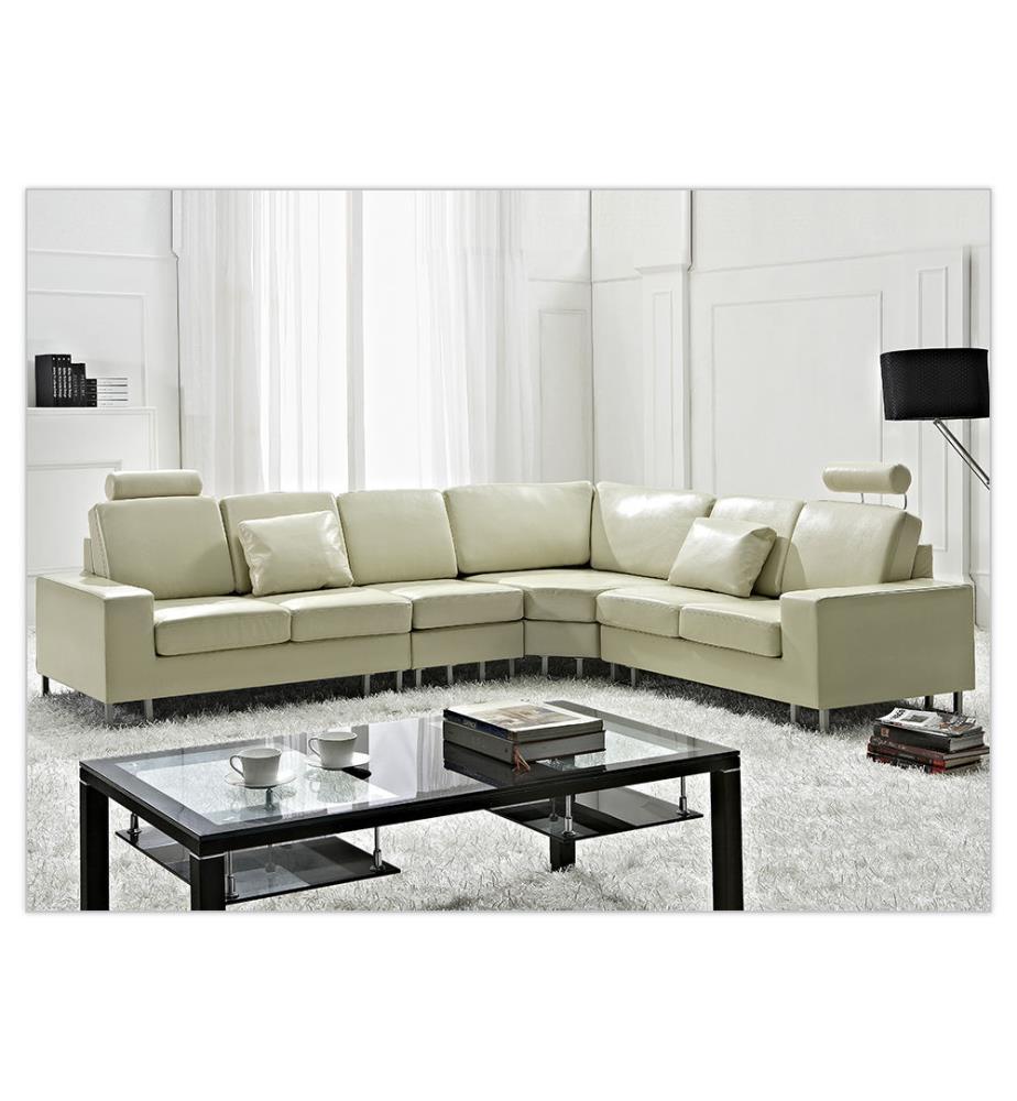 canap d angle en cuir 5 places stockholm beige et argent dealmix. Black Bedroom Furniture Sets. Home Design Ideas