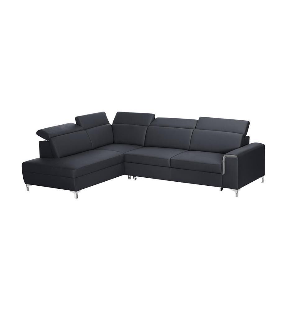 canap d angle gauche convertible serafino anthracite et gris dealmix. Black Bedroom Furniture Sets. Home Design Ideas