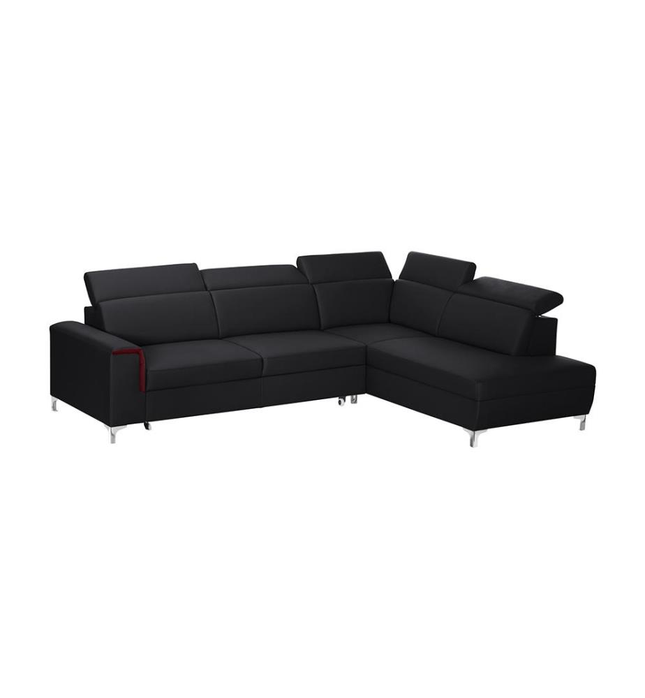 canap d angle droit convertible serafino noir et rouge dealmix. Black Bedroom Furniture Sets. Home Design Ideas