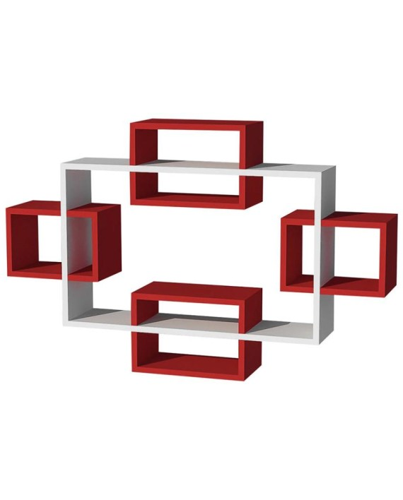 Etag re murale mayorka rouge et blanc dealmix - Etagere murale rouge ...
