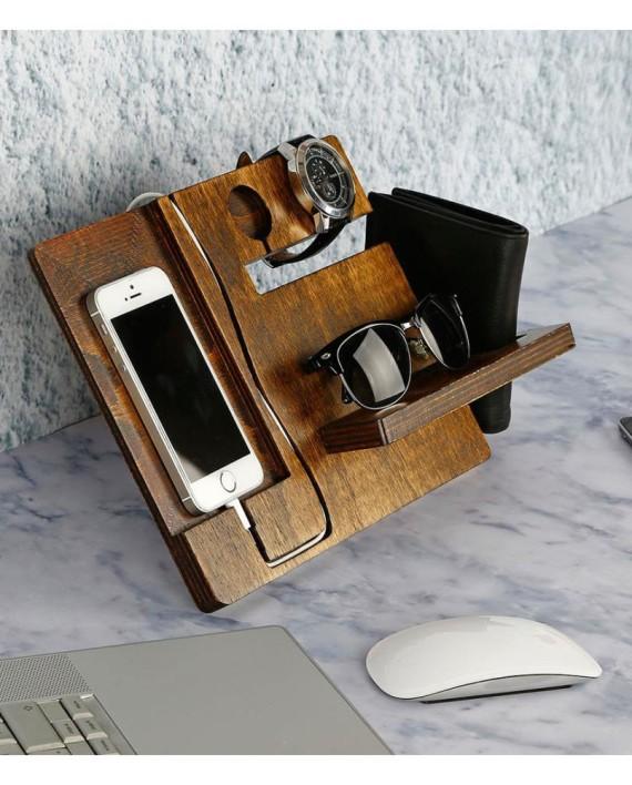 organisateur de bureau en bois brun fonc dealmix. Black Bedroom Furniture Sets. Home Design Ideas